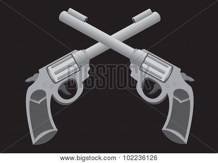 Crossed Guns Vector Illustration