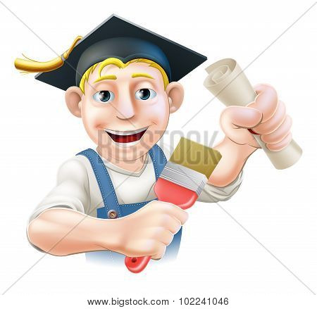 Professional training or learning or being qualified concept. Painter decorator with mortar board graduate cap and diploma certificate or other qualification. poster