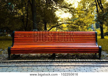 Orange Bench In City Park