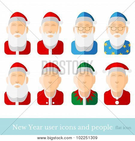 new year user icons and people santa dwarf gnome wizard magician elf stargazer