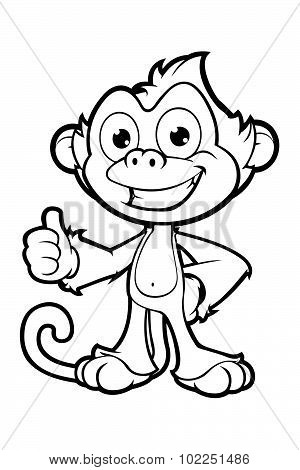 Cheeky Monkey Character In Black And White