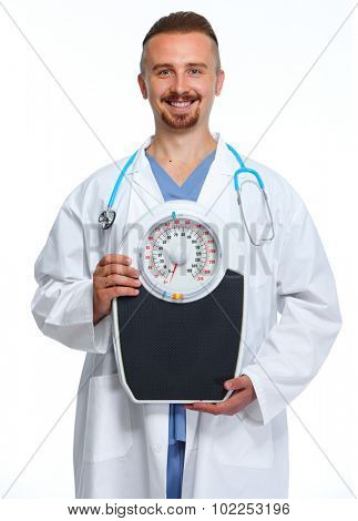 Medical doctor nutritionist with body scales. Weight loss.