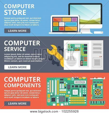 Computer store, computer service, computer components, parts flat illustration