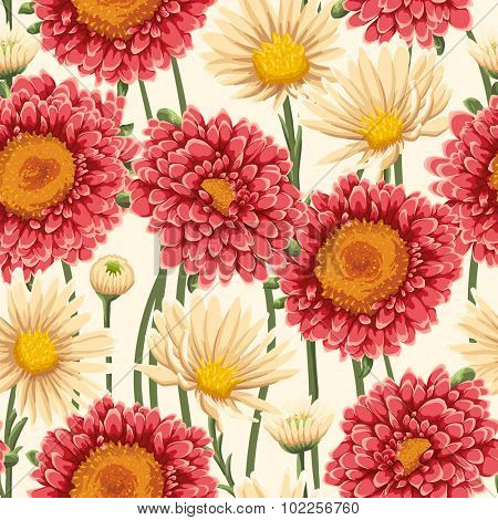 Floral seamless pattern with chamomiles, asters and daisies on light beige background. Watercolor style.