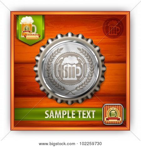 Bottle Cap With Beer Mug & Wreath