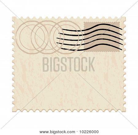 Blank Grunge Post Stamp On White Background