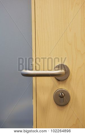 Closed door with doorknob