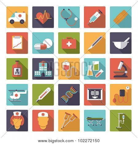 Medicine and Health Care Vector Icon Collection. Set of 25 medical and healthcare related icons in rounded squares, flat design, long shadow