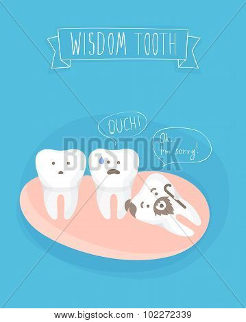 comics about wisdom tooth, vector