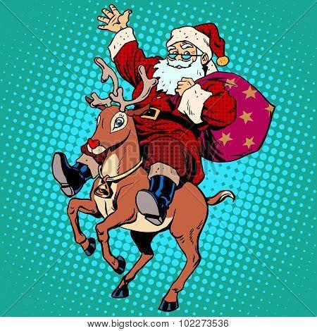 Santa Claus with gifts Christmas reindeer Rudolf
