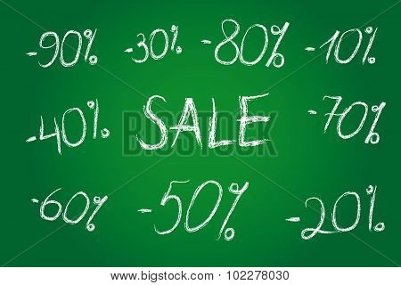 Discount prices vector illustration. Set of white chalk numbers, templates for seasonal trading, sale labels. 10th, 20th, 30th, 40th, 50th, 60th, 70th, 80th, 90th % or years.