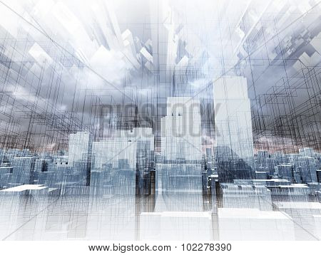 Abstract Digital Cityscape, Skyscrapers 3D Render