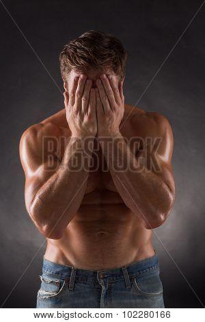 Shirtless mascular man