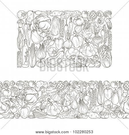 Horizontal seamless border and rectangular banner of vegetables and spices, hand-drawn illustration in vintage style.