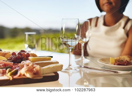Two Glasses Of White Wine At Winery Restaurant