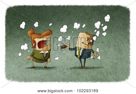 man smoking and woman shouting