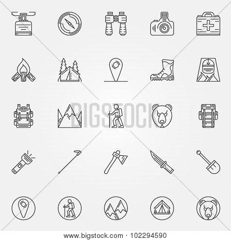Hiking icons set