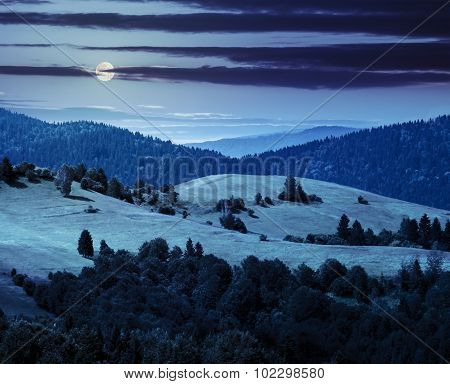 Hills With Meadow Among Mountains  Forest At Night