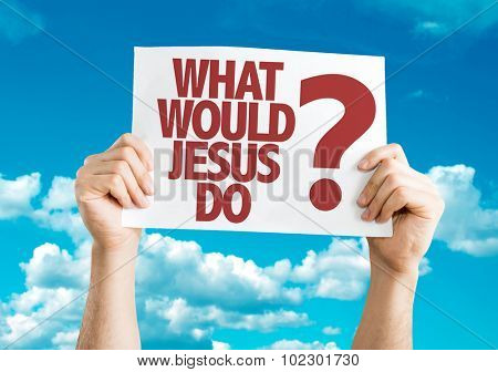 What Would Jesus Do? placard with sky background