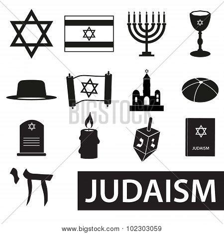 Judaism Religion Symbols Vector Set Of Icons Eps10