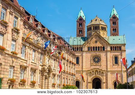 The City Hall And The Cathedral Of Speyer - Germany