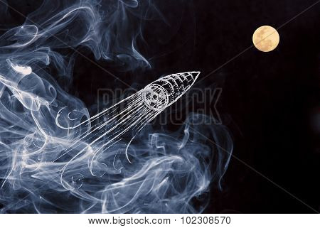 Creativity Concept Moon Space Ship Background