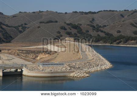 dam access road on lake casitas california poster