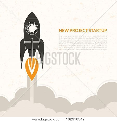 Space rocket launch  vintage background