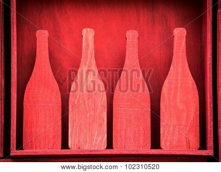Red Wooden Bottle Silhouette Cut Outs