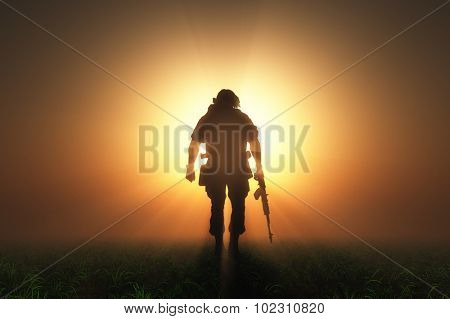 Silhouette of a soldier in the fog.