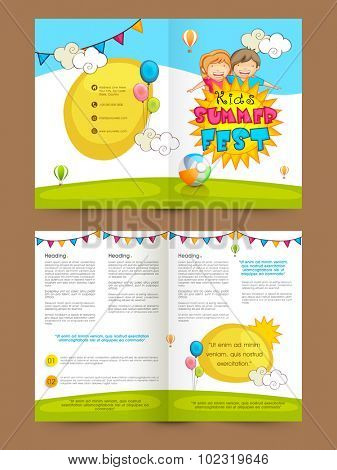 Creative colorful Brochure, Template or Flyer presentation with illustration of cute happy kids for Summer Fest.
