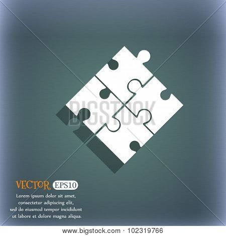 Puzzle Piece Icon Sign. On The Blue-green Abstract Background With Shadow And Space For Your Text. V