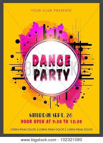 Creative Abstract Dance Party Flyer Template Or Banner Design On Color Splash Background Poster Id 102321080