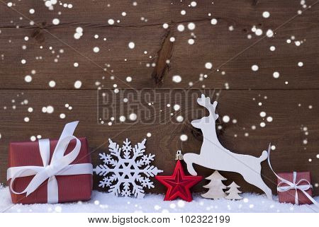Red Christmas Decoration, Snow, Snowflakes, Reindeer And Gift