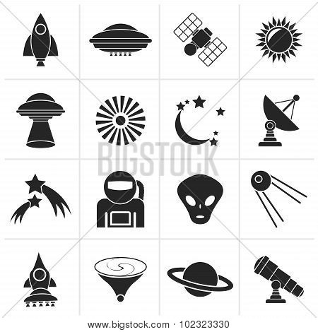 Black astronautics, space and universe icons
