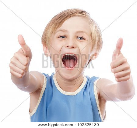 Smiling young little boy giving thumb up gesture, isolated