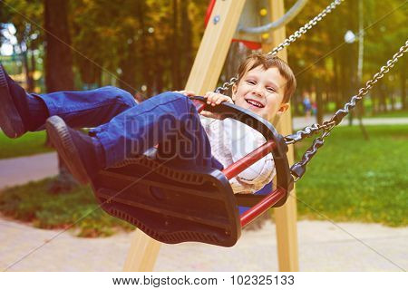 smiley little boy riding on swing in park and looking at camera