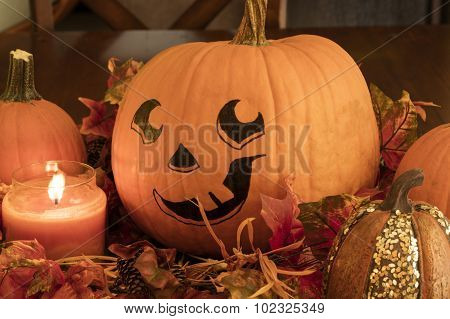 Painted Pumpkin And Candle