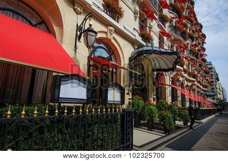 Hotel Plaza Athenee on Avenue Montaigne in Paris