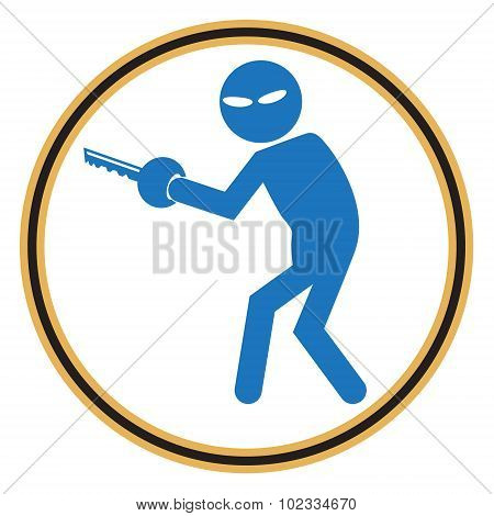 Hacker Internet security concept. Thief symbol illustration poster