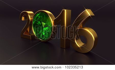 New year 2016 with emerald gemstone