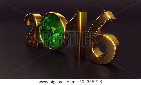New year 2016 with emerald gemstone