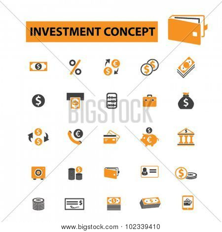 investment, bank, finanace icons