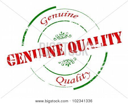 Rubber stamp with text genuine quality inside vector illustration poster