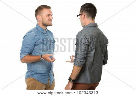 Two Young Man Chatting, Smiling