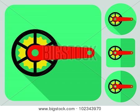 Crankset icon. Bike parts. Flat long shadow design. Bicycle icons series.