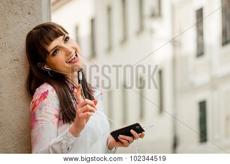 Woman singing in street