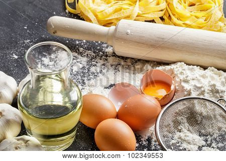 Homemade Italian Fettucine Ingredients