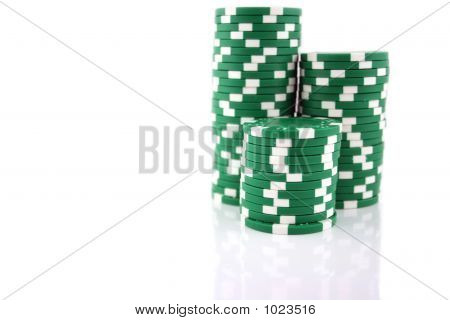 3 Stacks Of Green Chips