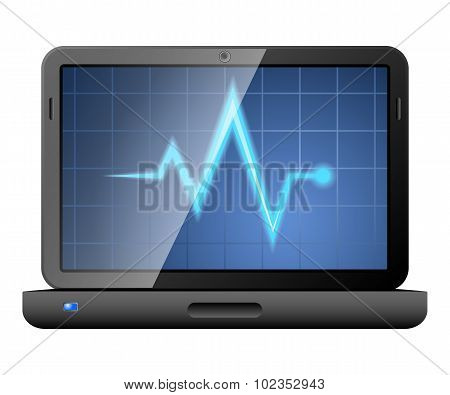 Laptop With Diagnostic Utility On The Screen. Vector
